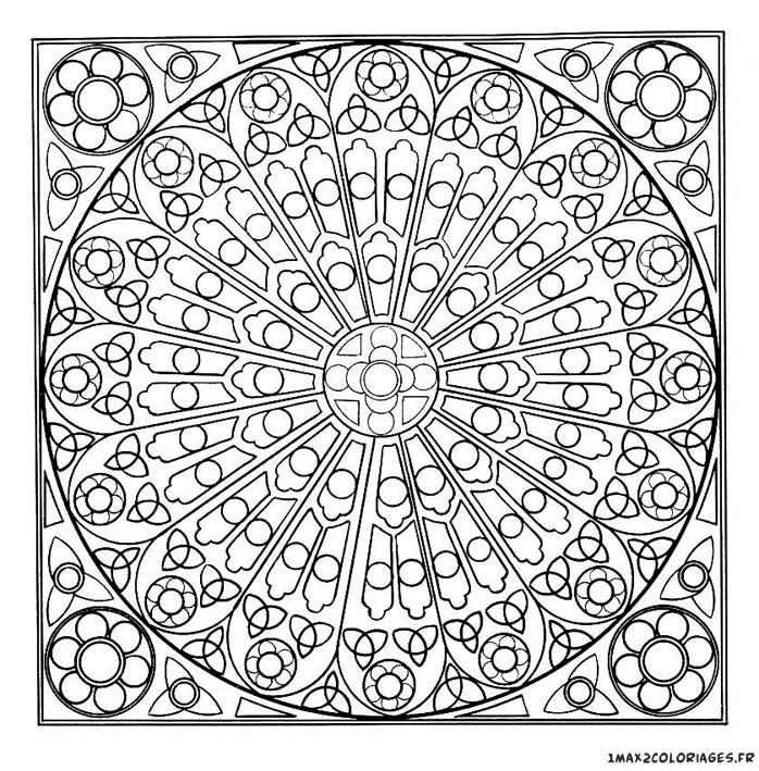 Coloriage de mandalas mandala mandala rosace vitraux de cath drale a imprimer - Dessin vitraux ...