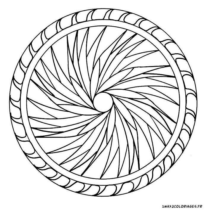 Coloriage de mandalas mandala mandala cercle en mouvement a imprimer - Coloriage de rosace ...