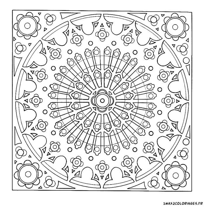 Coloriage de mandalas mandala rosace vitraux a imprimer - Rosace coloriage ...
