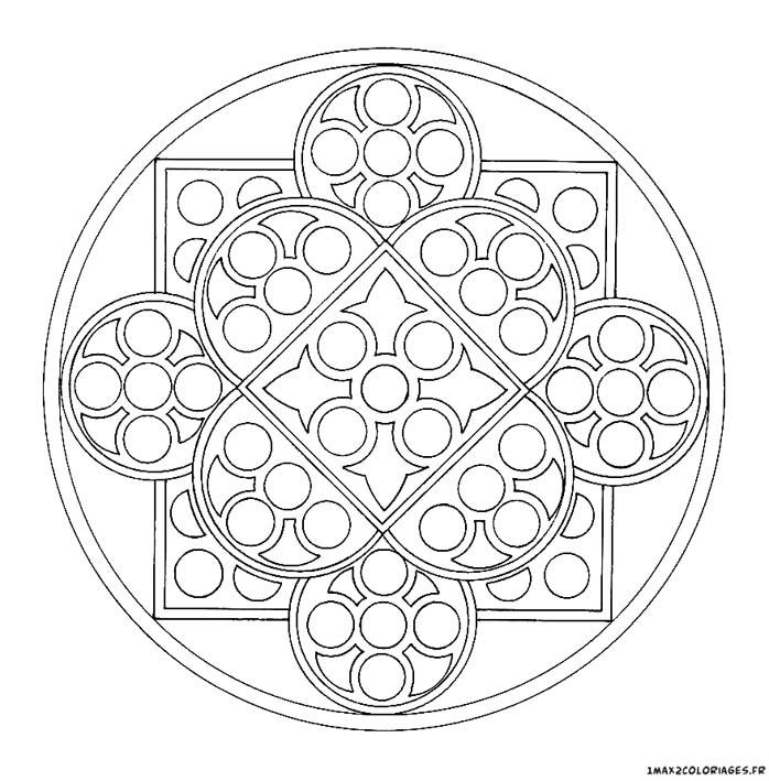 Coloriage De Mandalas Mandala Vitrail Eglise A Imprimer