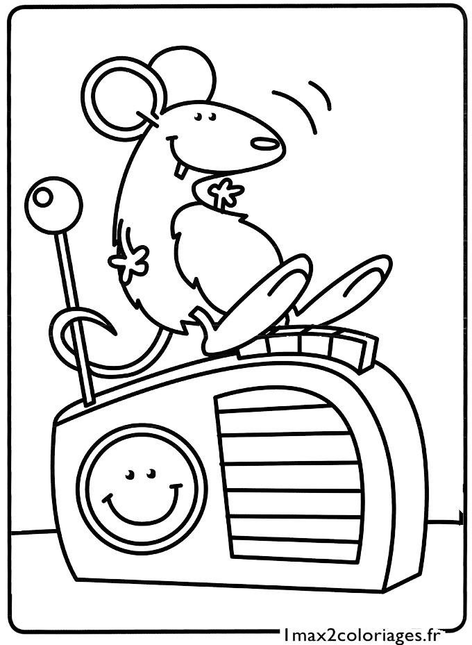 Mes premiers coloriages la petite souris sur son poste - Dessin de petite souris ...