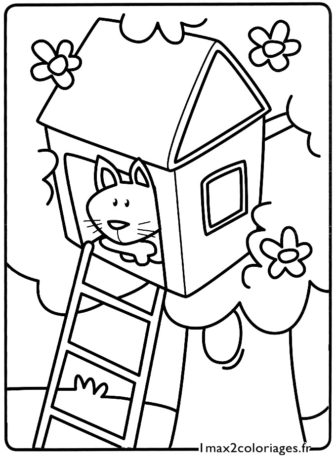 Mes premiers coloriages le petit chat se cache dans la - Dessin cabane ...