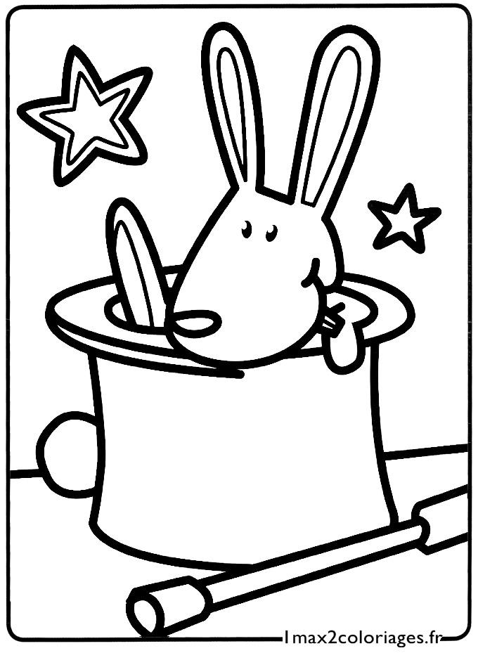 Mes premiers coloriages le petit lapin de magicien sort de son chapeau a imprimer - Dessin de chapeau de magicien ...