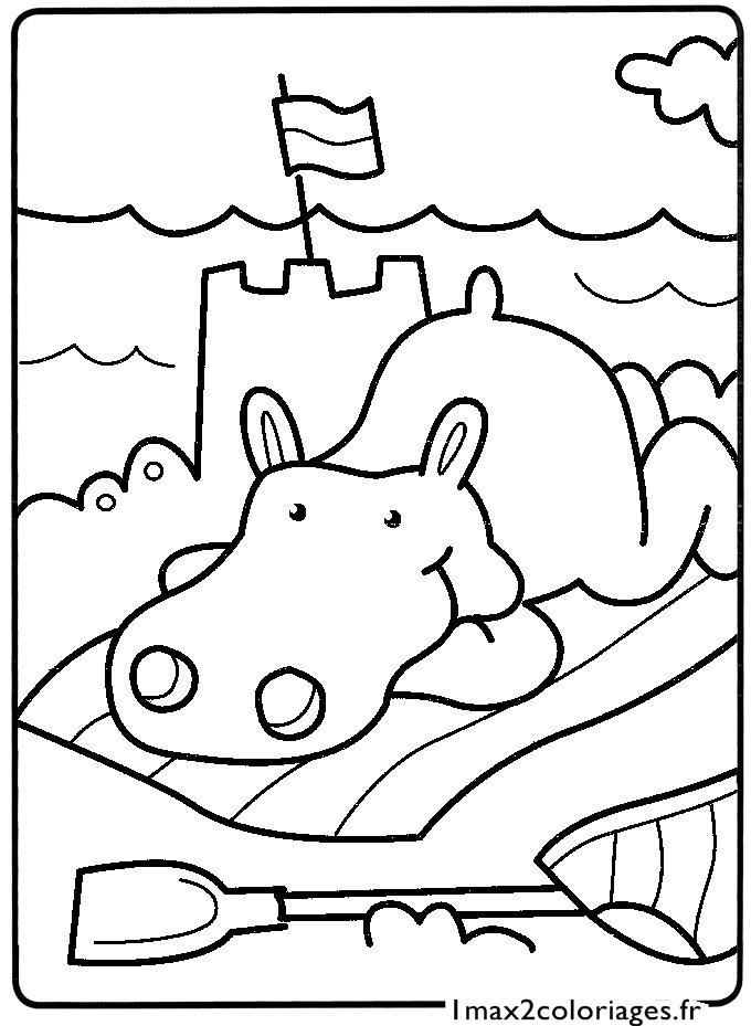 Mes premiers coloriages le petit hippopotame a imprimer - Mes coloriages a imprimer ...