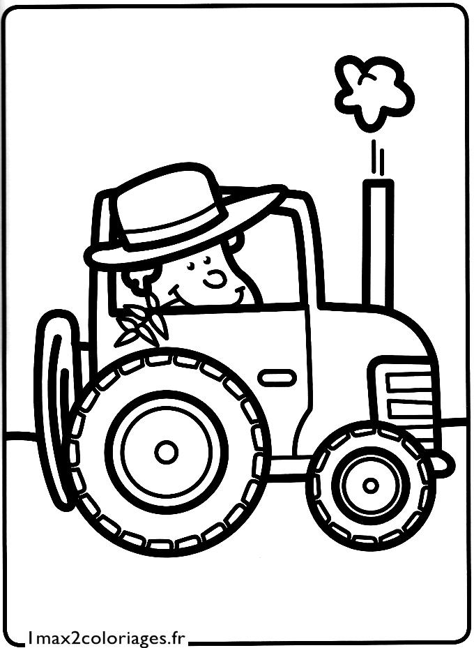 Mes premiers coloriages l 39 agriculteur dans son petit tracteur a imprimer - Coloriage tracteur avec remorque ...