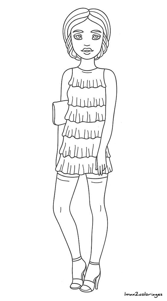 amuses toi colorier ces filles la mode la mode fille coloriage num ro 16. Black Bedroom Furniture Sets. Home Design Ideas