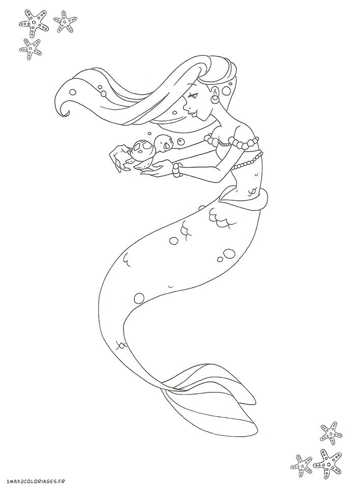 Coloriage d 39 une jolie sir ne dessin num ro 3 - Dessin de sirene facile ...