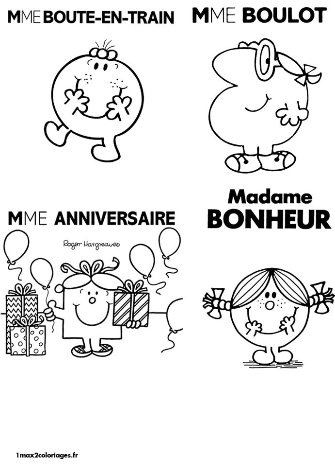 Coloriages monsieur madame de Roger Hargreaves - Mme Boute ...