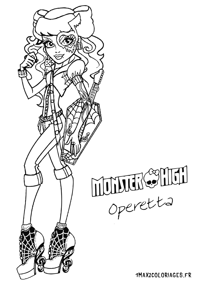 Coloriage des personnages de monster high nouvelle poupee monster high operetta a imprimer - Coloriage a imprimer monster high ...