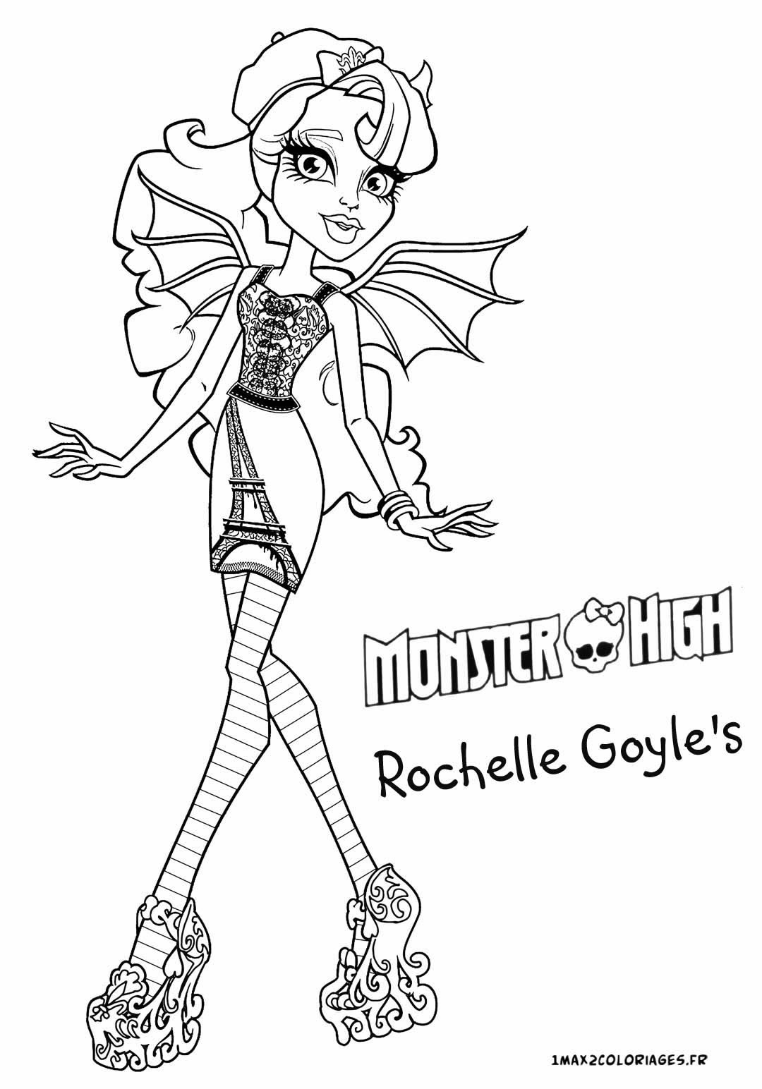 Coloriage des personnages de monster high nouvelle poupee monster rochelle goyle 39 s a imprimer - Comment dessiner une monster high ...