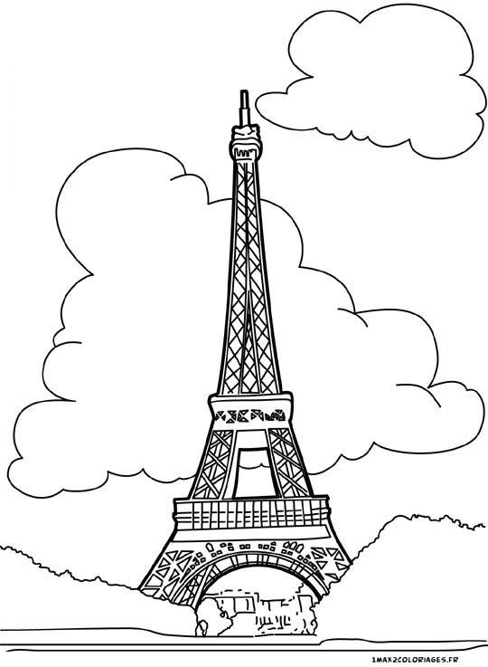 Coloriages De Monuments Coloriages Tour Eiffel A Paris A Imprimer