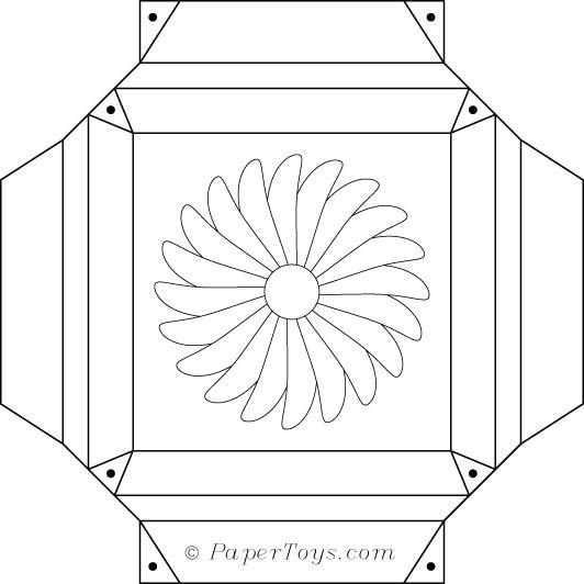 Une boite fleur imprimer decouper coller et monter une - Fleur a colorier et a decouper ...