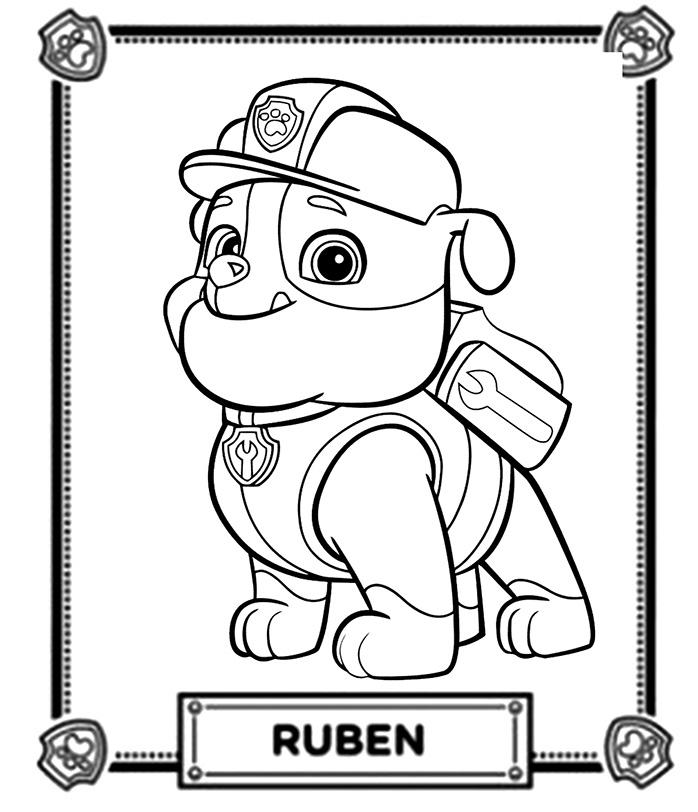 Coloriage De Ruben Un Adorable Bouledog Anglais De La Pat Patrouille