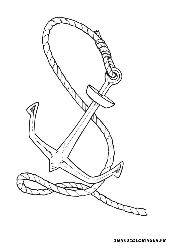Coloriage du monde des pirates ancre du navire pirate a imprimer en ligne - Dessin ancre bateau ...