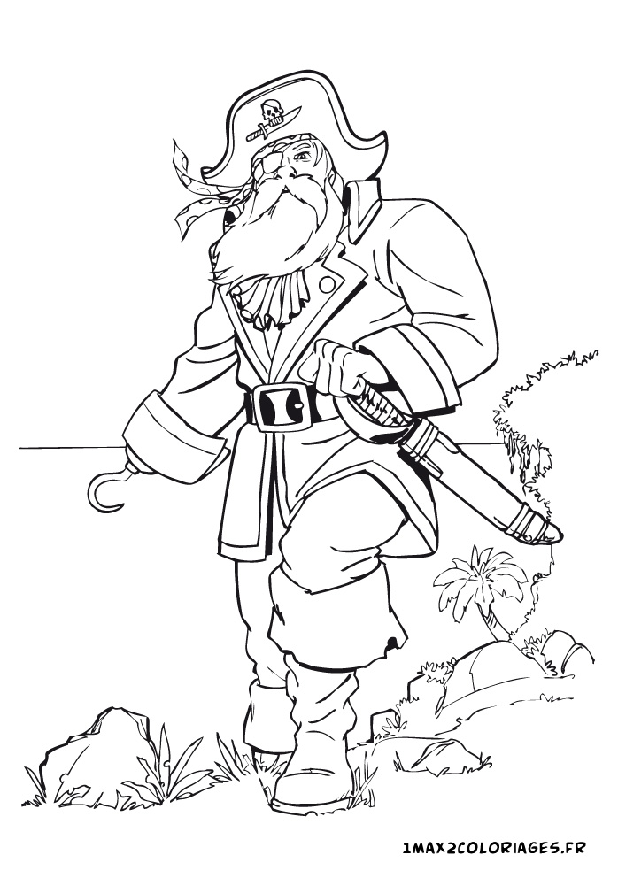 Coloriage du monde des pirates le capitaine des pirates a - Coloriage pirate des caraibes ...
