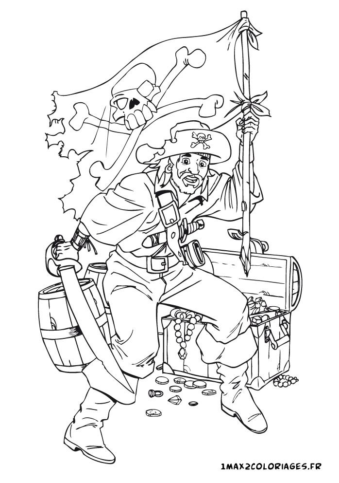 Coloriage du monde des pirates un pirate garde son tr sor - Coloriage tresor ...