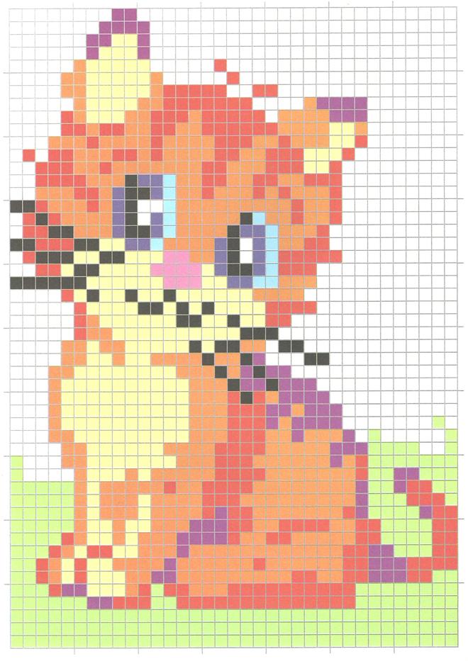 Coloriage d'une image de petit minou pixellisée