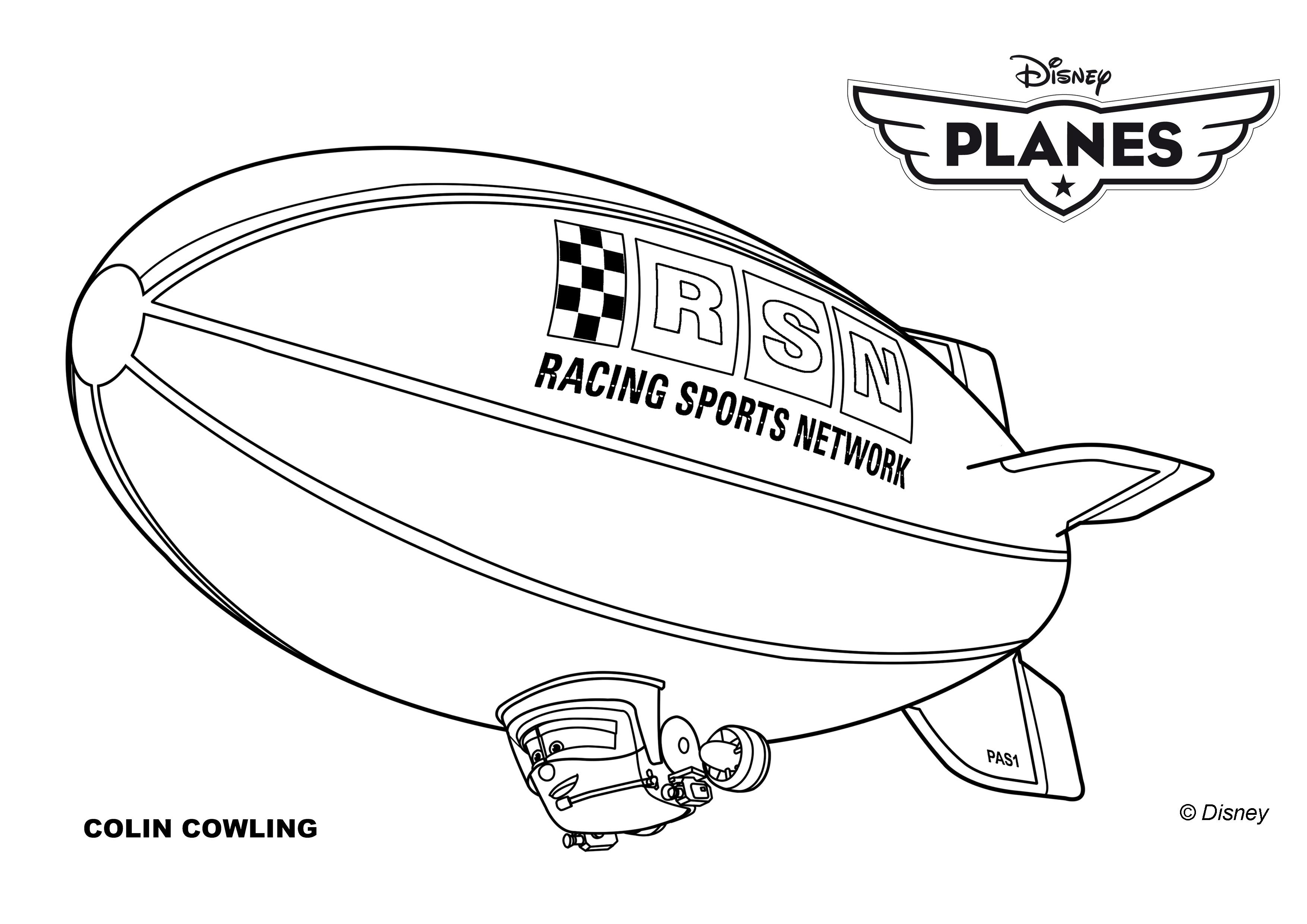 Coloriages planes de walt disney colin cowling un dirigeable a imprimer - Planes coloriage ...