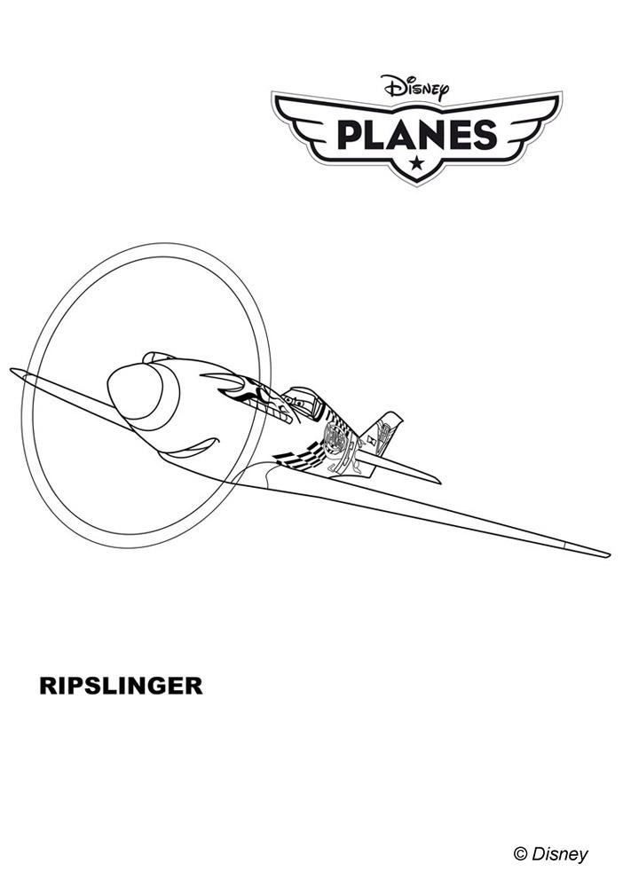 Coloriages Planes de walt Disney,Ripslinger - un avion ...