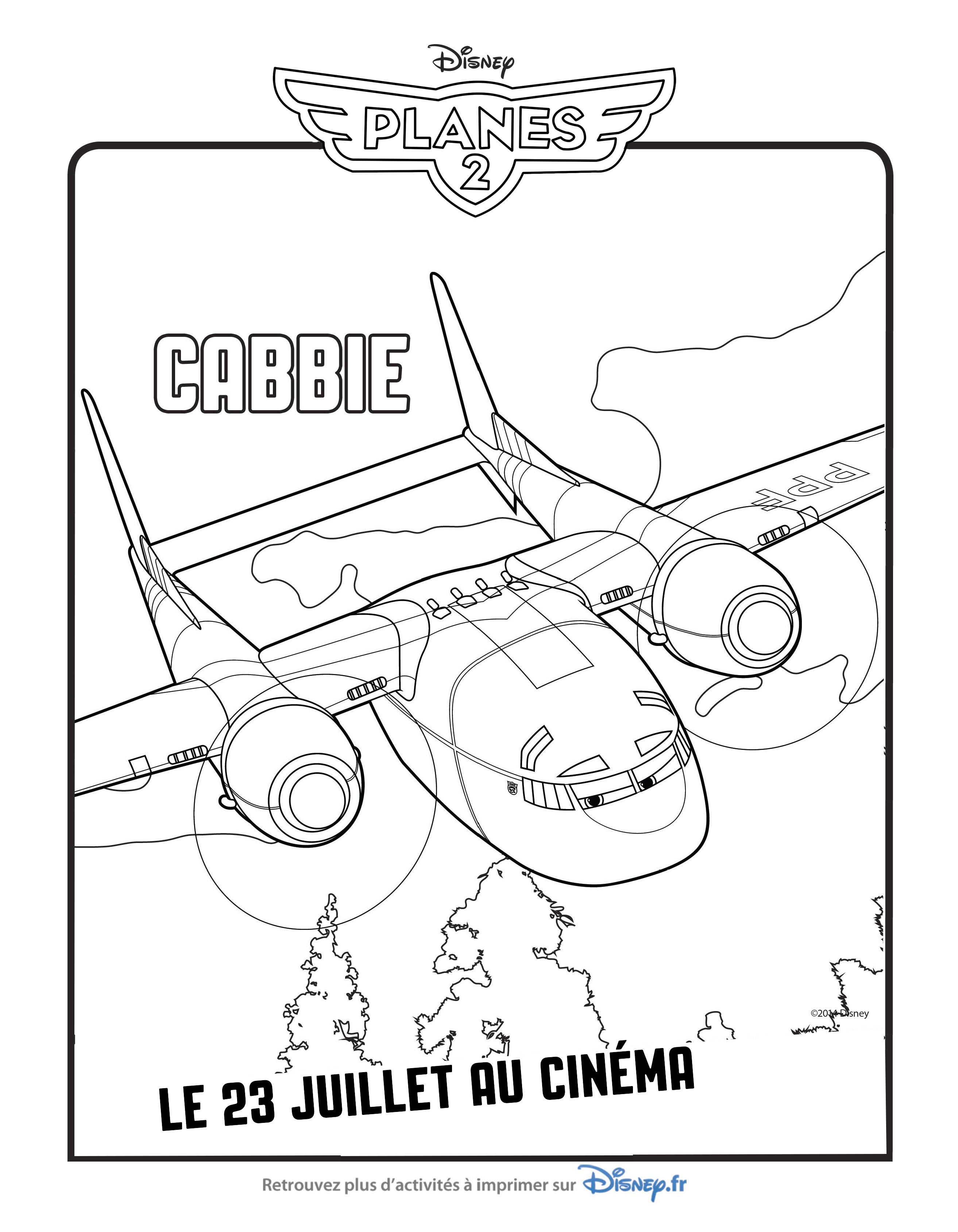 coloriage personnages planes 2 Cabbie Avion de transport militaire a ...