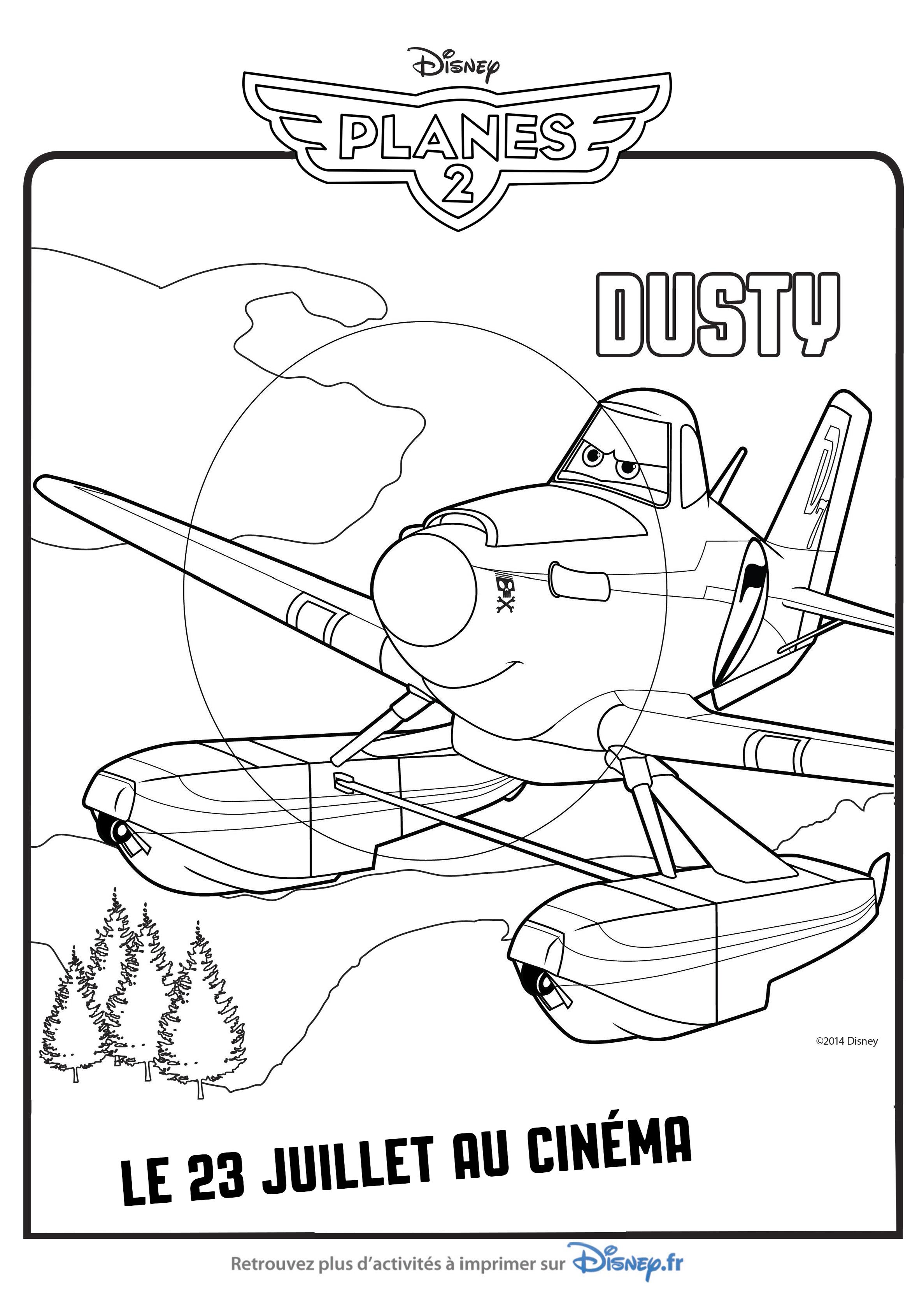 Coloriage personnages planes 2 lorsque le c l bre coureur a rien dusty crophopper revient dans - Planes coloriage ...