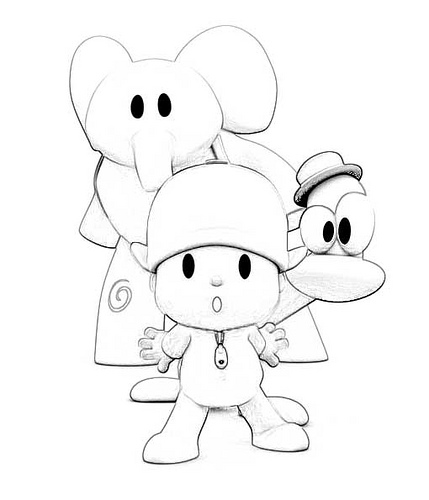 Pocoyo Coloring Pages Pdf : Free pato pocoyo of elly coloring pages
