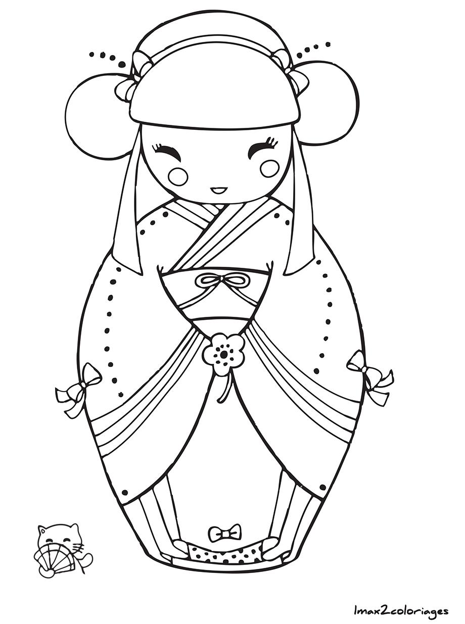 Coloriage de poup e japonaise kokeshi numero 1 imprimer - Coloriage japon ...