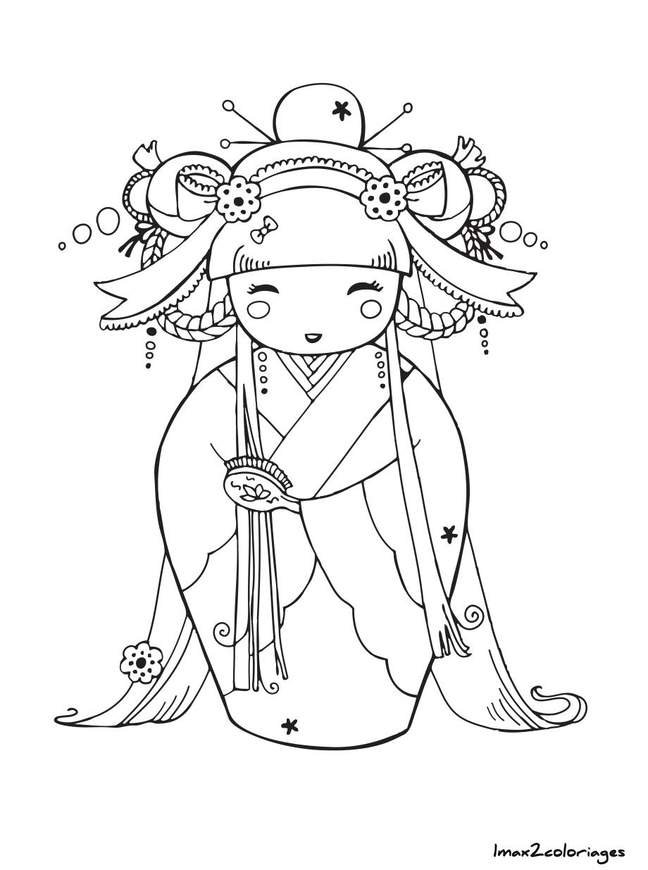 Coloriage De Poupée Japonaise Kokeshi Numero 9 à Imprimer