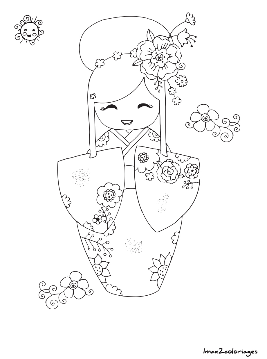 Coloriage de poup e japonaise kokeshi numero 14 imprimer - Baie du japon en 3 lettres ...
