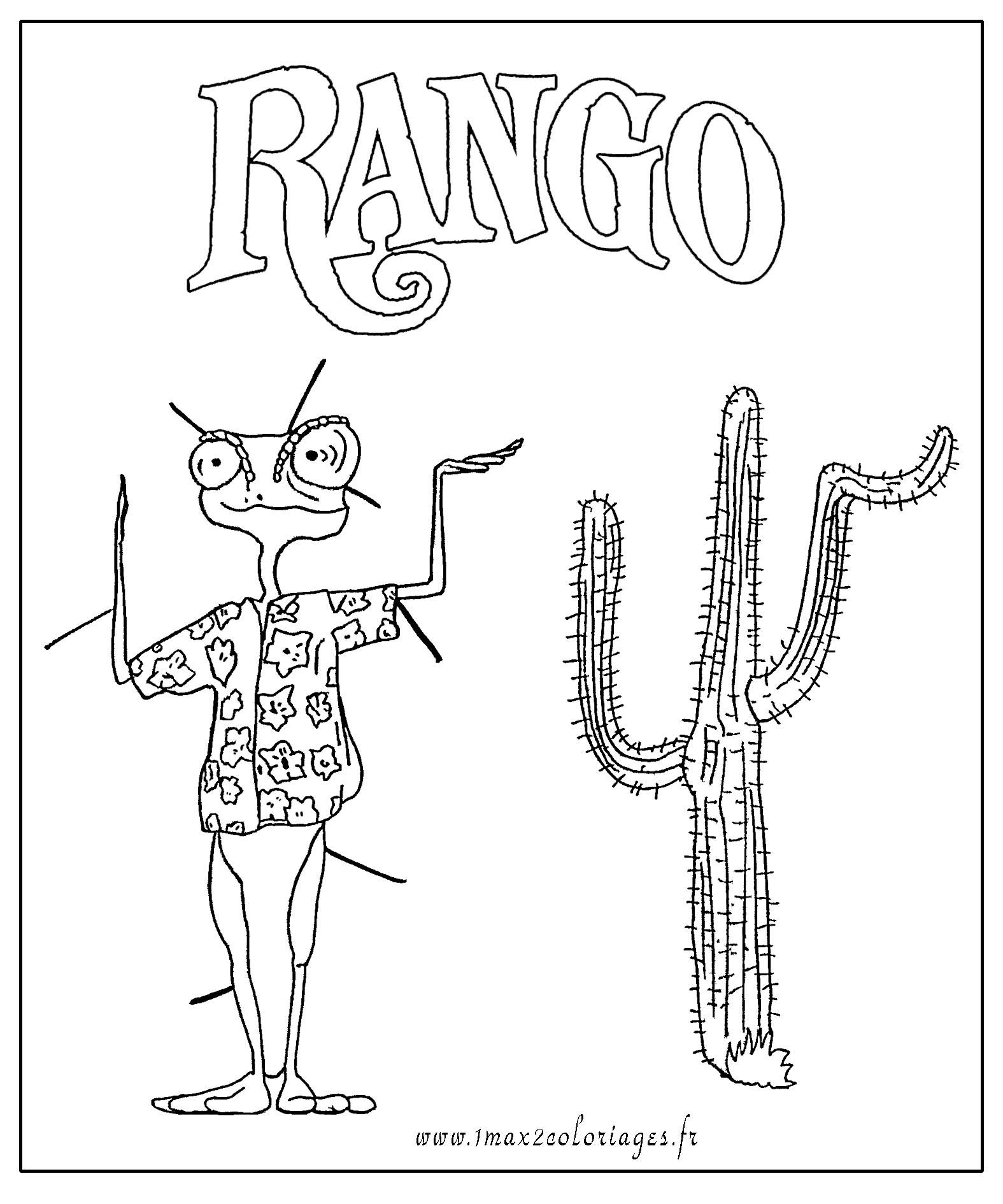 Coloriages et dessins du film rango gratuit 6 coloriages - Coloriage cactus ...