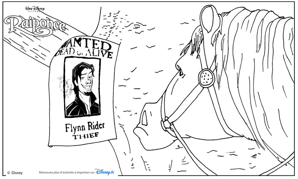 Coloriage raiponce wanted flynn rider et maximus coloriages rapunzel - Raiponce et flynn rider ...