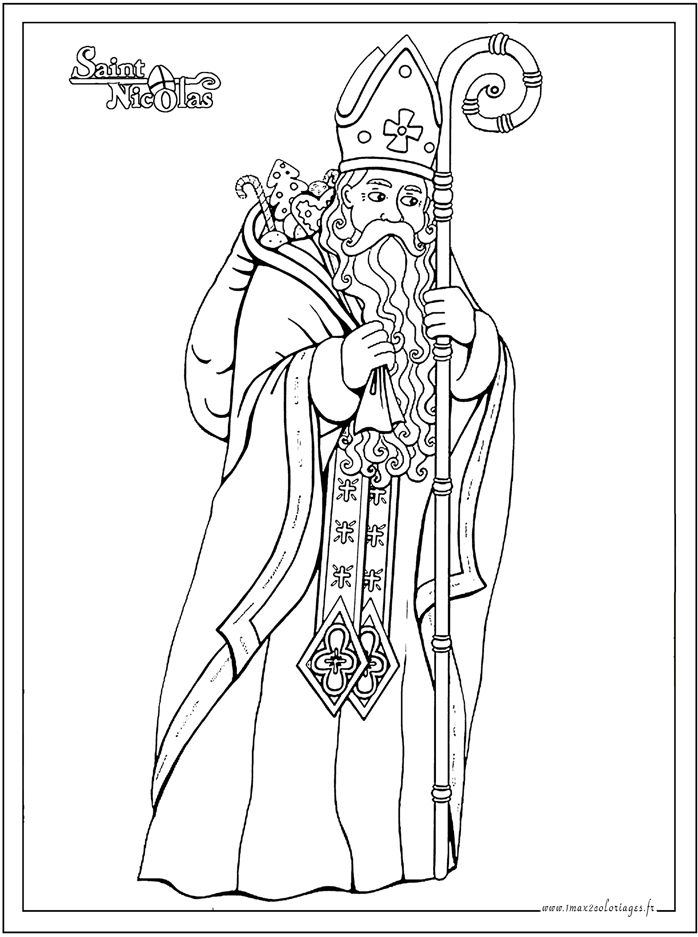 Coloriages saint nicolas saint nicolas dessiner - Coloriage de saint nicolas ...