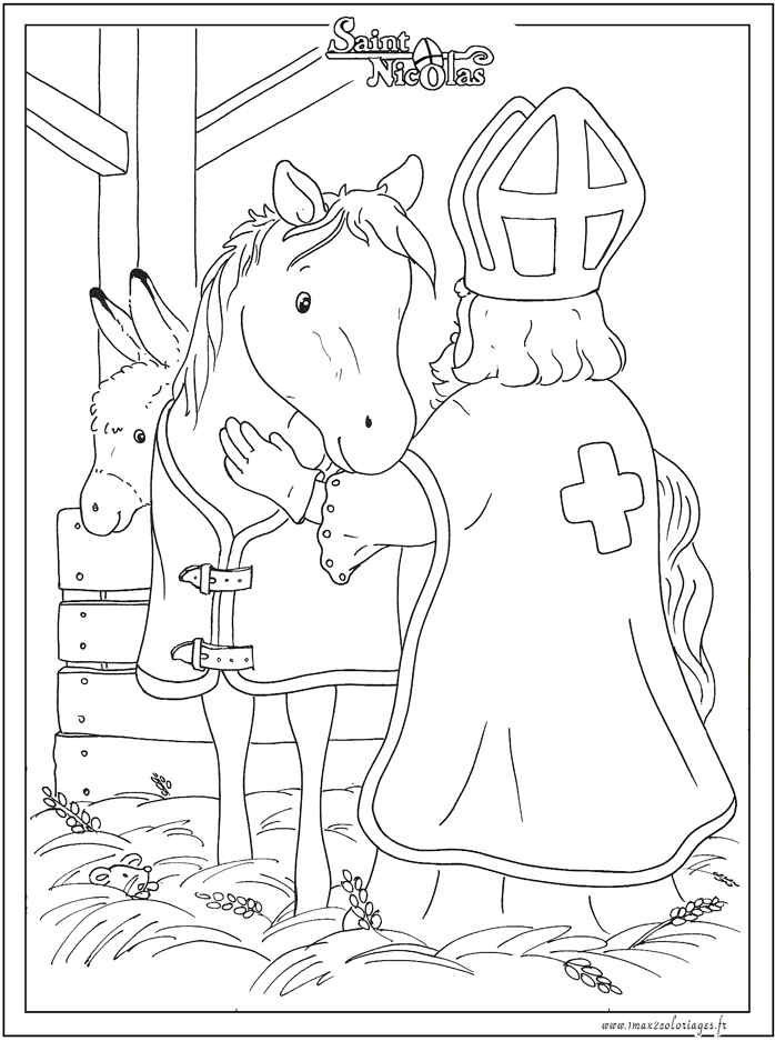 Coloriages saint nicolas saint nicolas et son cheval - Coloriage de saint nicolas ...