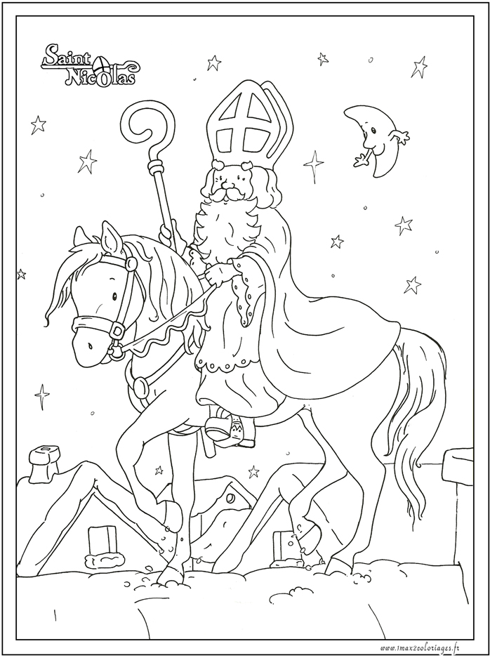 Coloriages saint nicolas saint nicolas sur son cheval - Coloriage de saint nicolas ...