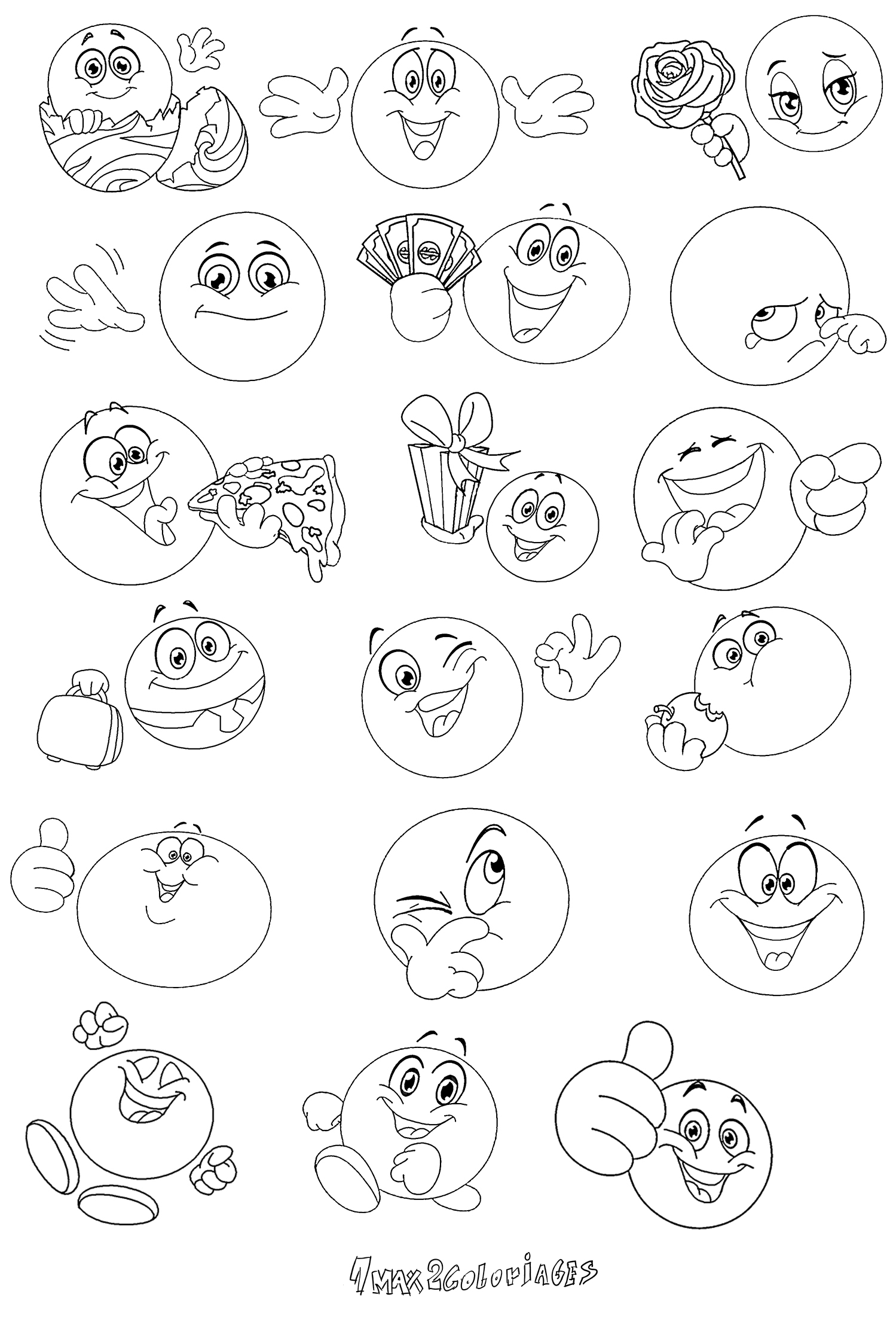 Coloriage divers smiley page 3 imprimer - Coloriage de smiley ...