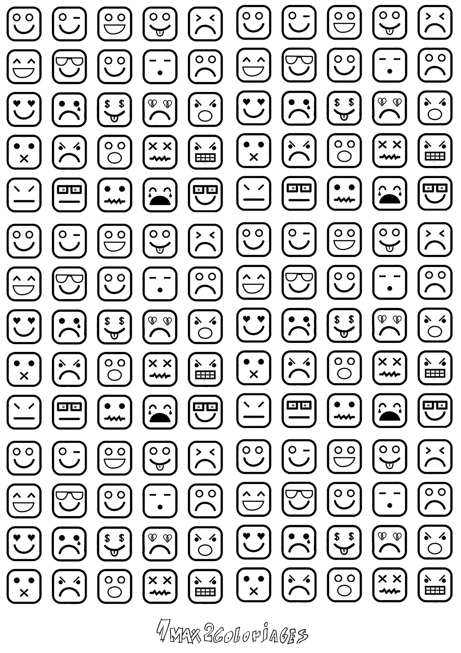 Coloriage Icones Carrés Smileys à Imprimer