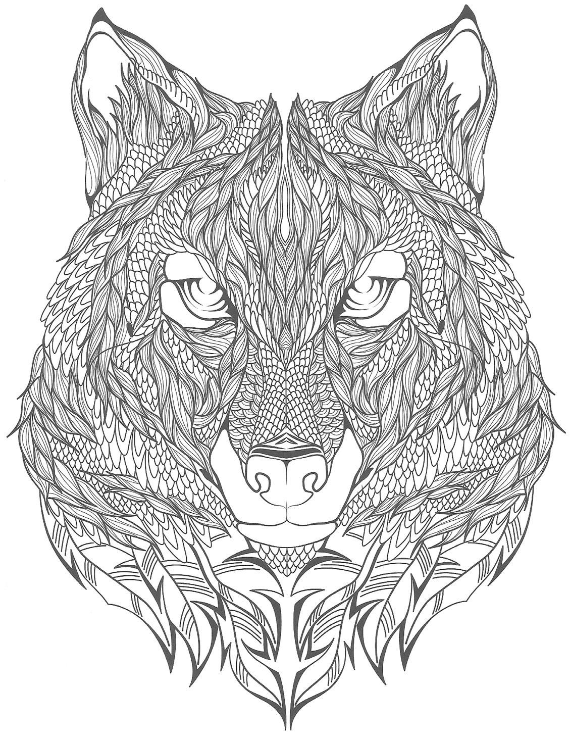 Differents Tatouages A Imprimer Et A Colorier Ici Un Loup