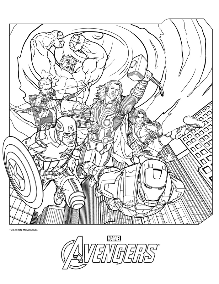 The avengers coloriages de thor hulk iron man capt america - Coloriage de avengers ...