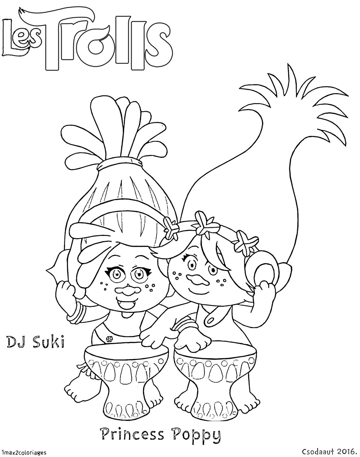 Coloriage du film trolls dj suki et princesse poppy - Dessin de troll ...