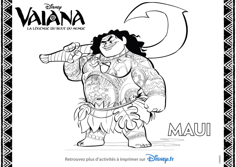 Maui Est Un Demi Dieu Personnage Du Film D Animation Vaiana De Disney Colorier