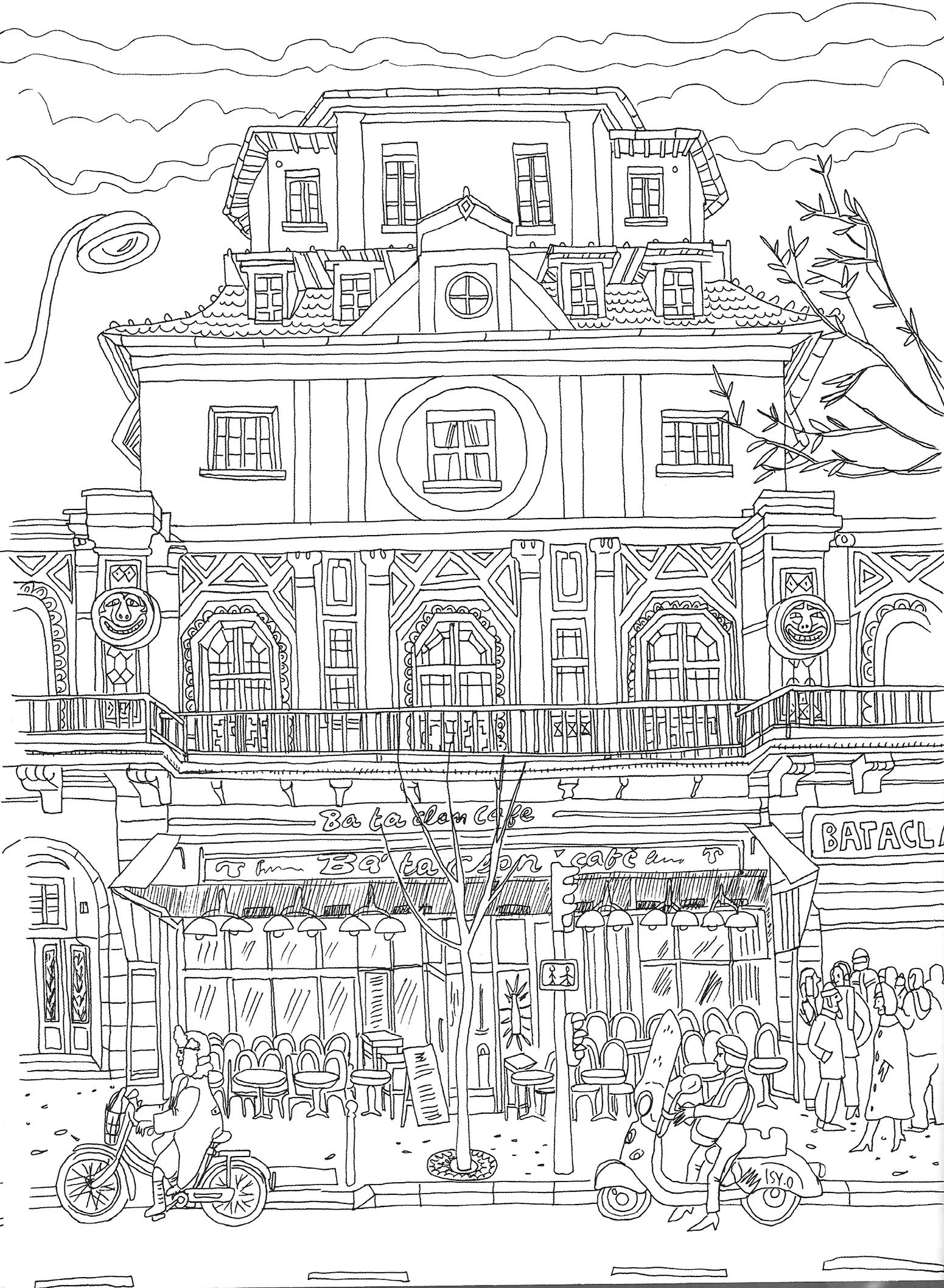 coloriage de Paris et ses merveilles: La salle de ...
