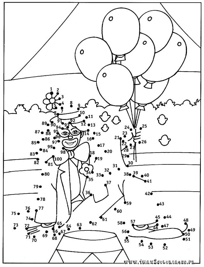 coloriage clown et ballons relier les points de 1 100 - Relier Les Points