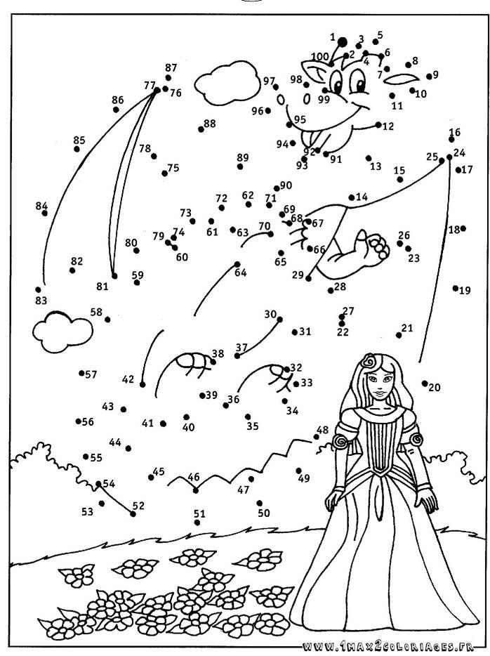 coloriage princesse et le dragon relier les points de 1 100 - Points A Relier