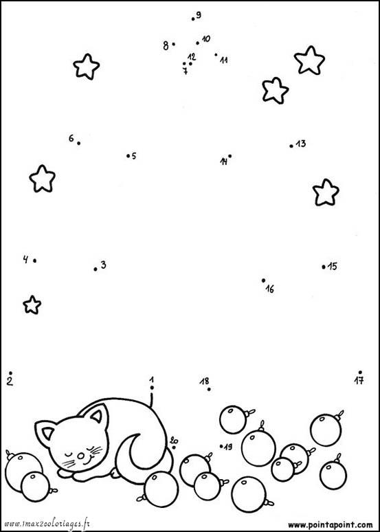 coloriage chat relier les points de 1 20 - Relier Les Points