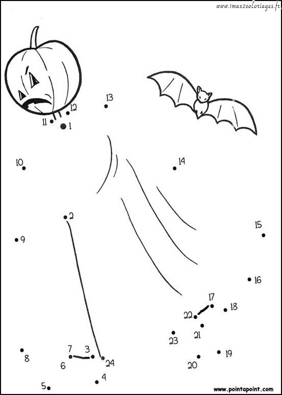 Dessin et coloriage point point coloriage halloween - Dessin a point a relier ...