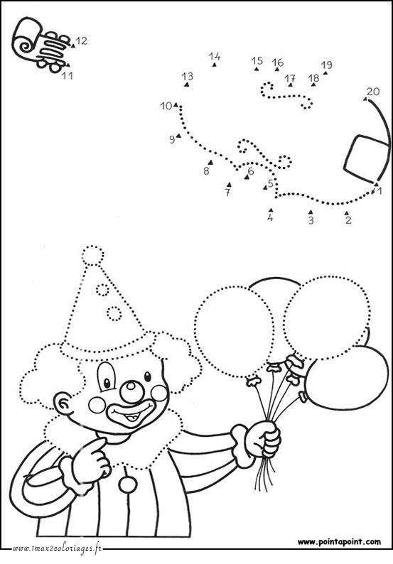 Dessin et coloriage point point coloriage clown et ses ballons relier les points de 1 20 - Dessin point a point ...